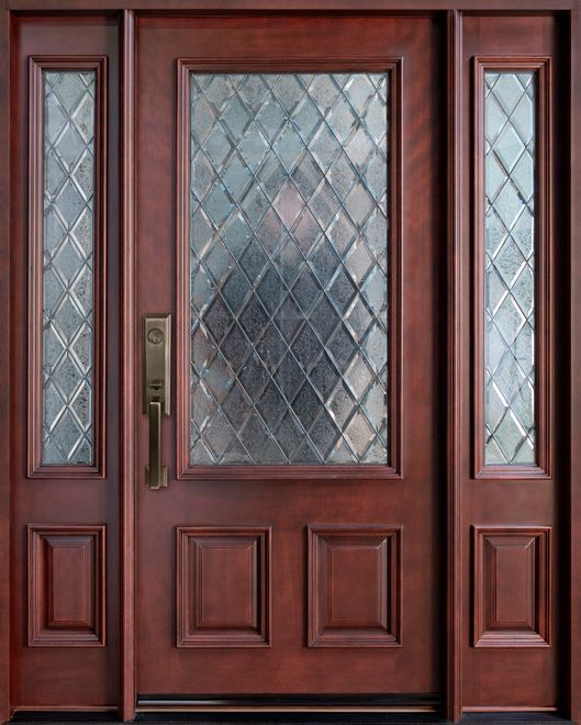 Privacy glass for entry doors v groove and obscure for Exterior wood doors with glass