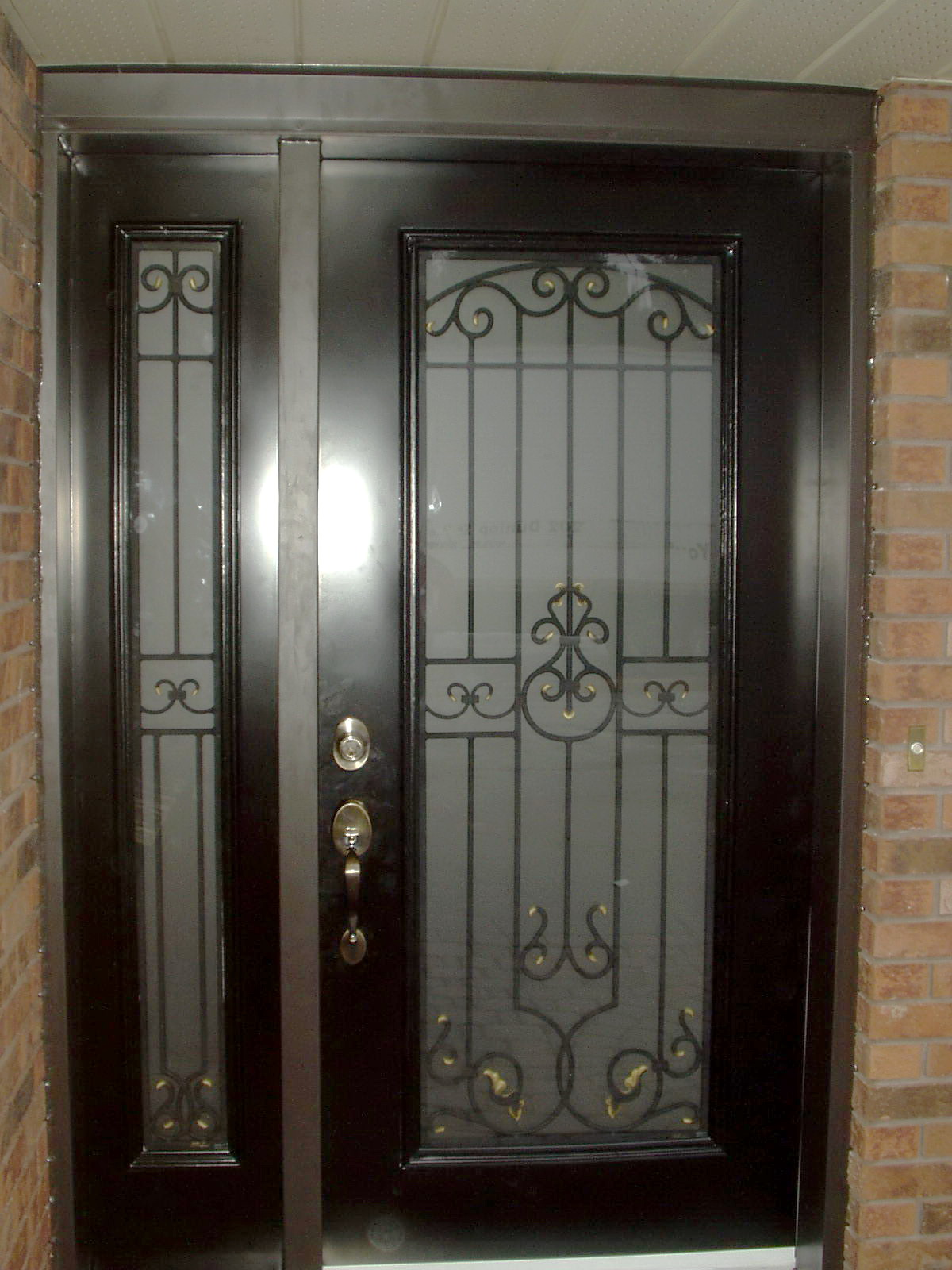 Steel door with wrought iron insert for Metal entry doors